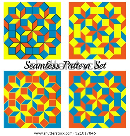Set of 4 abstract contemporary geometric seamless patterns with rhombus and squares of blue, orange and yellow shades - stock vector