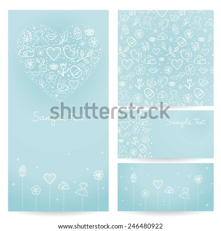 Set of abstract creative business cards design. Valentine's Day card. - stock vector