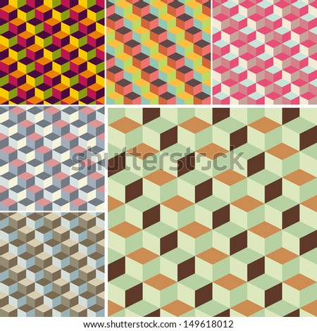 set of abstract cubic geometric pattern background for design - stock vector