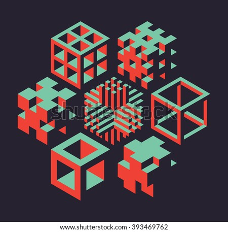 Set of abstract 3d cubical objects, useful for logo or science backround. illustration