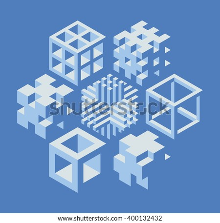 Set of abstract 3d cubical objects, useful for logo or science backround. illustration - stock vector