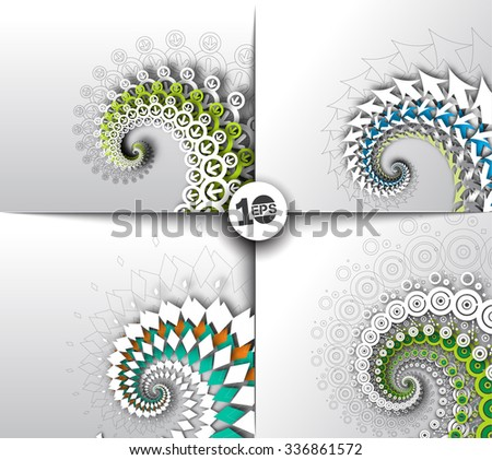 Set of Abstract 3D Wave Circle Design, eps10 vector - stock vector