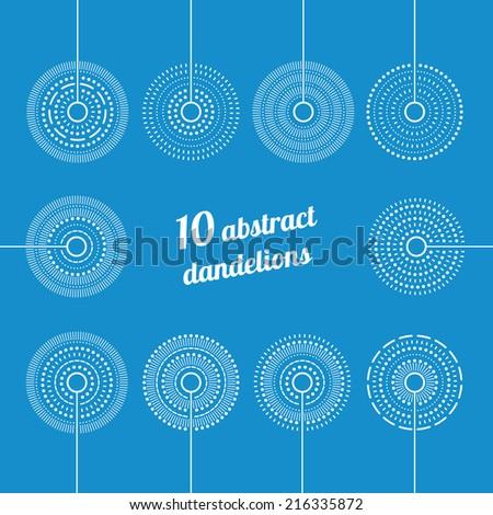 Set of Abstract Dandelions. Decorative Elements for design, dandelions - stock vector