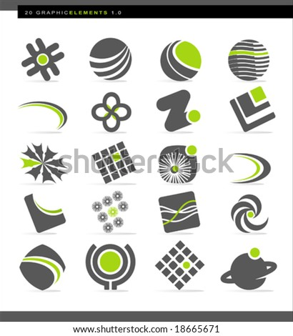 Set of 20 abstract design elements; easy-edit colors - stock vector
