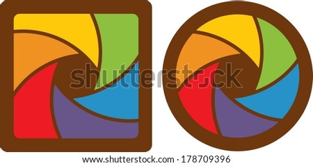 set of abstract design half closed/opened shutter apertures. - stock vector