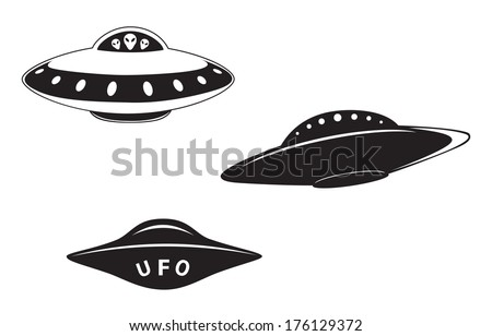 Set of abstract elemental vector flying saucers - stock vector