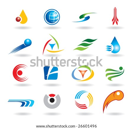 Set of abstract elements for logo design - stock vector