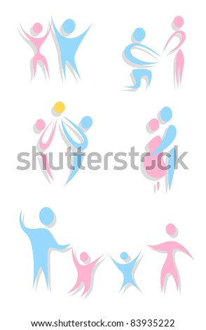 Set of abstract family icons (vector)