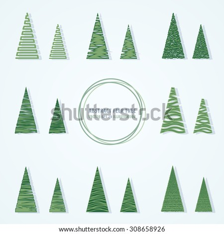 Set of abstract fir-trees icon. Vector illustration. EPS 10 - stock vector