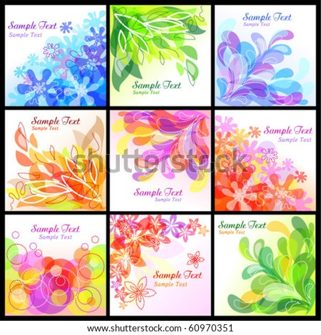 Set of 9 abstract floral backgrounds. eps10