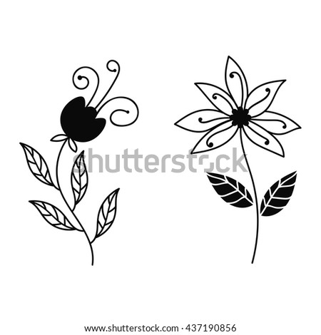 Set of abstract floral elements, paradise bird, cartoon elements. Design doodle collection. Vector illustration. - stock vector