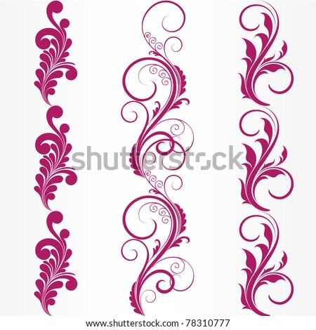 Set of abstract floral patterns. Element for design. - stock vector