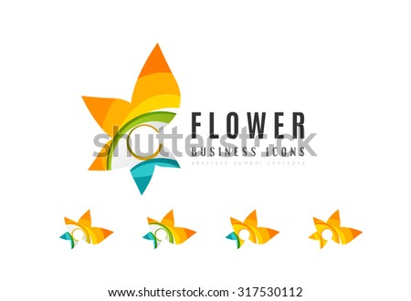 Set of abstract flower logo business icons. Created with overlapping colorful abstract waves and swirl shapes - stock vector
