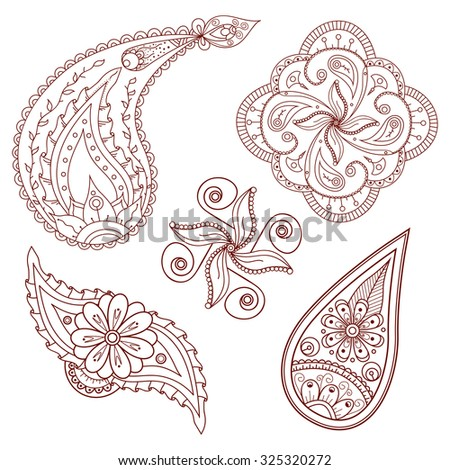 Set of abstract flowers and paisley elements in Indian mehndi style. Hand drawn floral doodles. Orient traditional background design. Ethnic pattern. Template for mehndi ornament. Vector illustration. - stock vector
