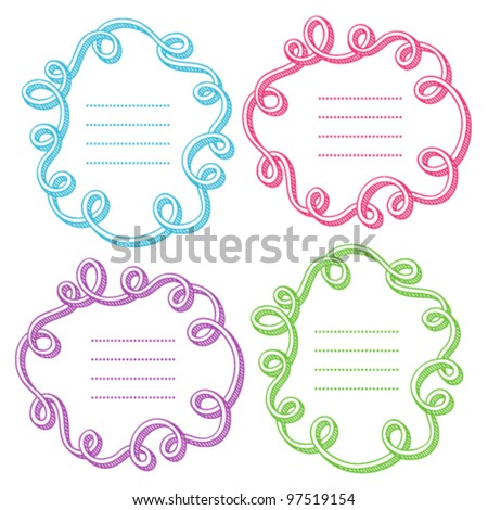 Set of abstract frames with doodling elements - stock vector