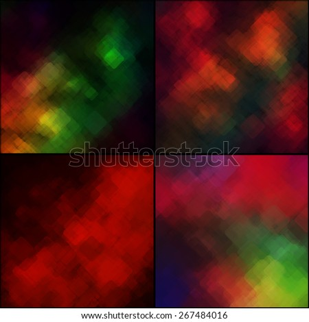 Set of abstract geometric backgrounds  consisting of overlapping square elements. Vector illustration.  - stock vector