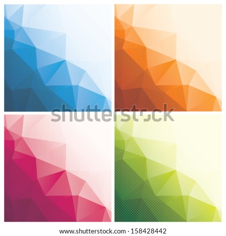 set of abstract geometric backgrounds with triangles and dots, vector illustration - stock vector