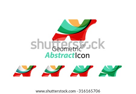 Set of abstract geometric company logo N letters. Vector illustration of universal shape concept made of various wave overlapping elements
