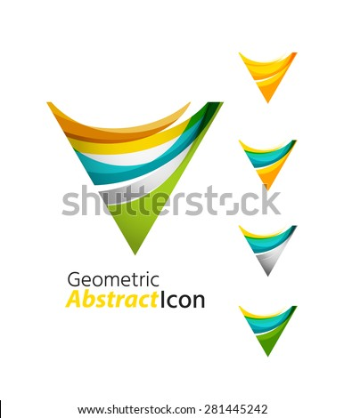 Set of abstract geometric company logo ring, circle. Vector illustration of universal shape concept made of various wave overlapping elements - stock vector