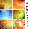 set of abstract geometric mosaic backgrounds - stock photo