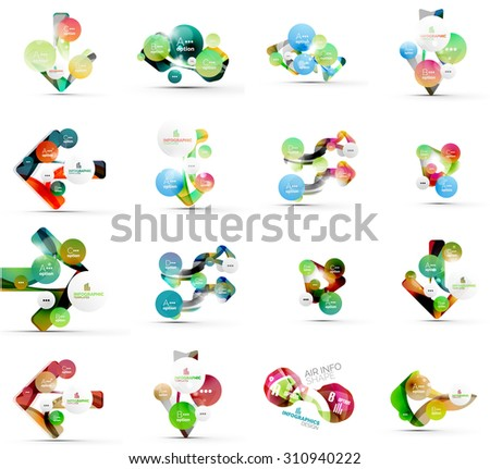 Set of abstract geometric paper effect infographic banner templates. Business presentations, backgrounds, option infographics or advertising banner layouts - stock vector