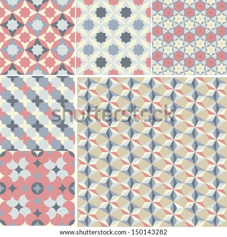set of abstract geometric pattern background for design - stock vector