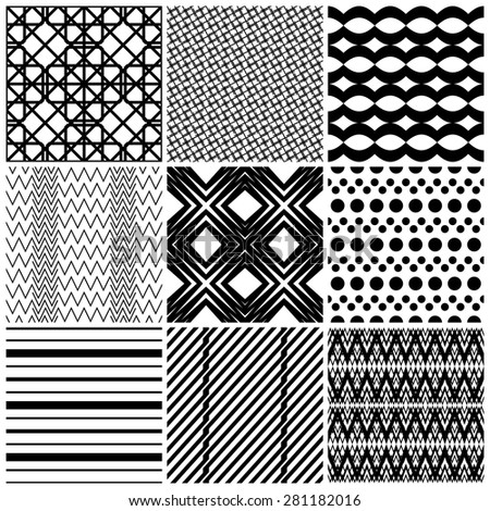 Set of 9 abstract geometric patterns. Classic black and white seamless wallpaper. Vector illustration. Fantasy background with geometric shapes. Zigzag, chevron, polka dot, circle, rhombus, lines.