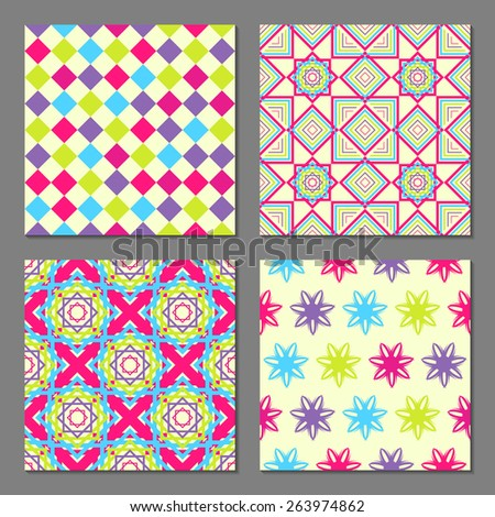 Set of 4 abstract geometric patterns. Colorful bright seamless wallpaper. Vector illustration. Fantasy background with geometric shapes and flowers - stock vector