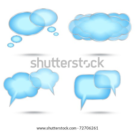 Set of abstract glossy speech bubble - stock vector