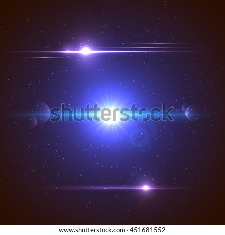 Set of abstract glowing bright cosmic design elements with flashes, stars and particles