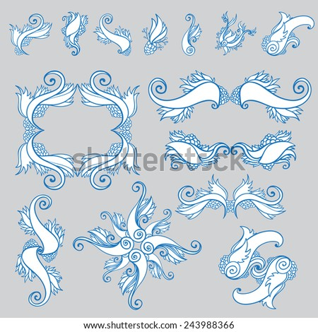 Set of abstract graphic patterns and elements