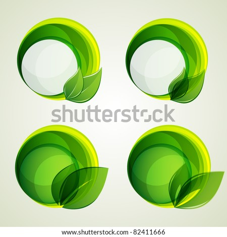 set of abstract green banners with leaf. Vector elements for design.