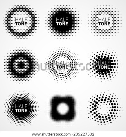 Set of abstract halftone logo design elements. Vector illustration - stock vector