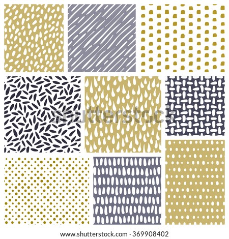 Set of abstract hand drawn textures. Vector seamless patterns - stock vector