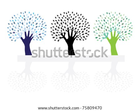 set of abstract hand trees, symbols of nature protection - stock vector