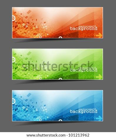 set of abstract header vector design. - stock vector