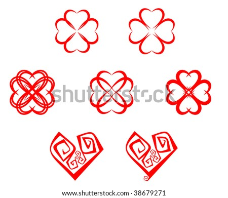 Set of abstract heart symbols for design. Jpeg version also available