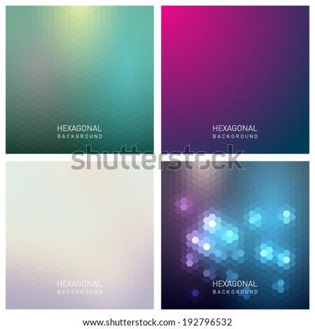 Set of abstract hexagonal backgrounds, pattern design. Vector eps10 - stock vector