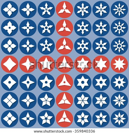 Set of abstract icons shuriken. Vector flat design. Isolated icons on colorful backdrop.