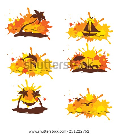 Set of abstract illustration - Tropical journey  - stock vector
