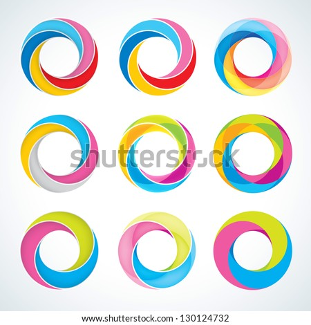 Set of abstract Infinite loop logo template. Corporate icons - stock vector
