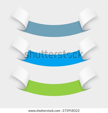Set of abstract information coming off a piece of paper. Arch down - stock vector
