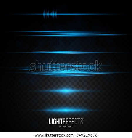 Set of Abstract Lens Flares / Glowing stars / Lights and Sparkles on Transparent Background. Transparent Light Effects for Your Design. Vector Illustration.