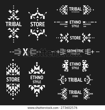 Set of abstract logo with tribal, ethnic, geometric elements, hipster logo, business label, navajo stile isolated on black background - stock vector