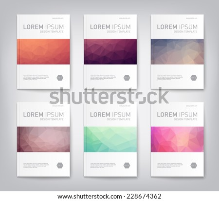 Set of abstract modern cover, report  brochure, flyer design template with geometric triangular style, clean and modern concept. Vector eps 10  - stock vector