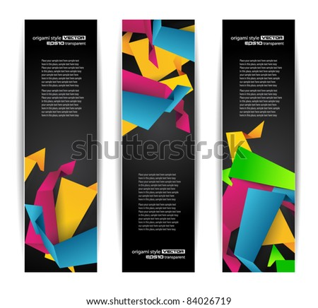 Set of abstract modern header banner for flyer or website with abstract origami design elements inside. - stock vector