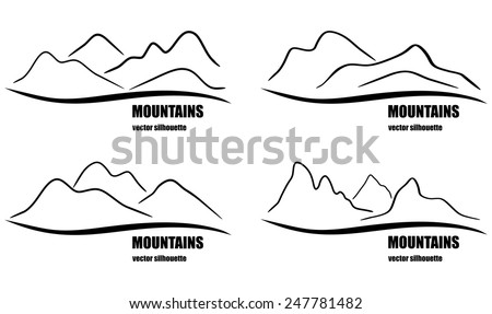 Set of abstract  mountains silhouette. Vector collection for design logo, emblems and banners. - stock vector