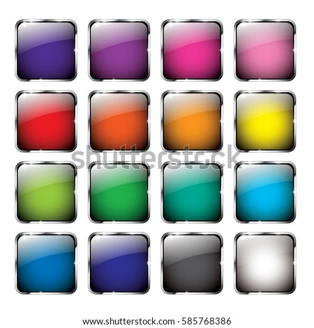 Set of abstract multi color backgrounds with a silver frame, with space for your text. Vector illustration.