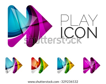 Set of abstract next play arrow icon, business logotype concepts, clean modern geometric design. Created with transparent abstract wave lines - stock vector
