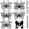 Set of abstract openwork black butterflies isolated on white - stock vector